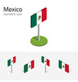 mexican flag set of isometric flat icons 3d style vector image