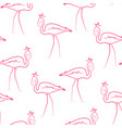 pink flamingo birds wearing crown seamless pattern vector image