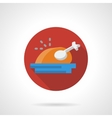Roasted turkey red round flat icon vector image