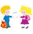 Schoolboy and schoolgirl vector image