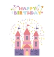 pink castle birthday card vector image