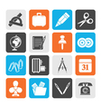 Silhouette Business and office objects icons vector image