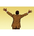 Back African American businessman open hands for vector image