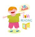 boy love reading happy cartoon vector image