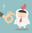 Businessman stealing golden eggs vector image