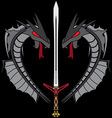 grey dragons and sword vector image