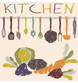 kitchen utensils set and vegetables grunge design vector image