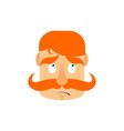 vintage irishman with red mustache surprise emoji vector image