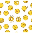 Yellow emoticon seamless pattern on white vector image