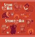 sticker set of prehistoric animals and vector image