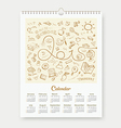Calendar 2015 sketch back to school design vector image vector image