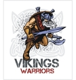 Viking norseman mascot cartoon with ax and sword vector image