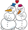 cartoon illustration of snowman couple in love vector image