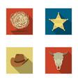 tumbleweed sheriff s star hat bull s skull vector image