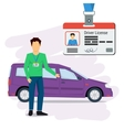 Man with car and driver license vector image