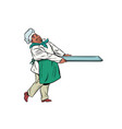 african chef cook with tray of food vector image