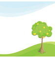 lone pear tree in a field under blue sky vector image