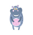 cute cartoon hippo character standing front view vector image