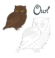 Educational game connect dots to draw owl bird vector image