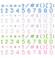 numbers and signs in many colors vector image