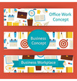 Office Work Concept Template Banners Set in Modern vector image