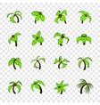 Palm tree icons set pop-art style vector image