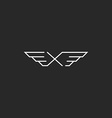 Winged letter X monogram logo mockup design vector image