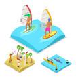 isometric outdoor activity surfing kayaking vector image