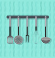 flat utensil kitchenware on the wall vector image