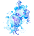 Marine background with jellyfish vector image vector image