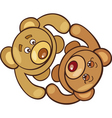 cartoon illustration of two teddy bears in love vector image vector image