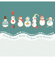 Horizontal of cute snowmen vector image