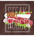 steak house with meatwine and salad vector image