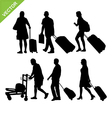 Airport passengers silhouette vector image