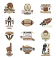 American football sign set vector image