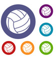 black volleyball ball icons set vector image