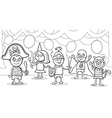 children at fancy ball coloring page vector image