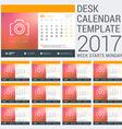 Desk Calendar Template for 2017 Year Design vector image
