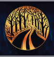 Empty road in the night through dark forest vector image