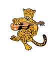 Jaguar Playing Guitar Cartoon vector image