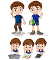 Little boy doing different activities vector image