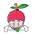 Money mouth face lychee cartoon character style vector image