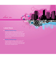 Pink background with city and place for your text vector image