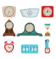 set of different clocks and hand watches isolate vector image