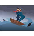 Two businessmen in one boat vector image