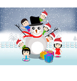 Merry christmas with happy kids vector image