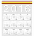 Spanish 2016 calendar with shadow angles vector image
