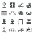 Airport black icons set vector image
