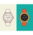 Smart watch retro design in outline line art style vector image