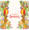 Tropical Flowers Parrot Bird Tropical Background vector image